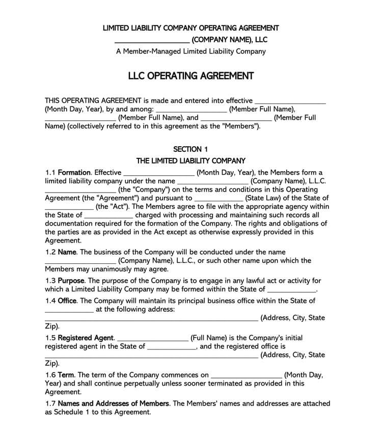 Free Multi Member Llc Operating Agreement Templates By State