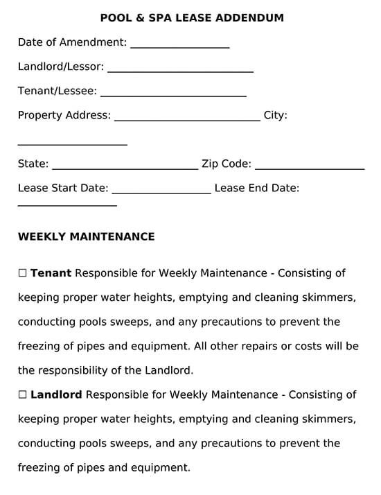 Pool and Spa Lease Addendum Template