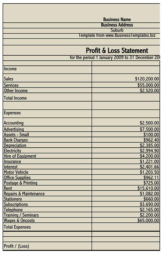 personal profit and loss statement template 01