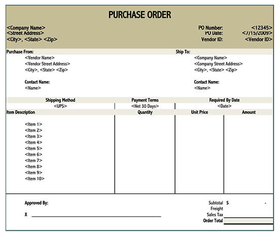 purchase order template doc