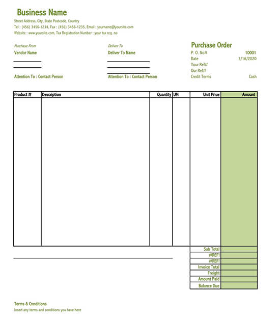 how to make purchase order in excel