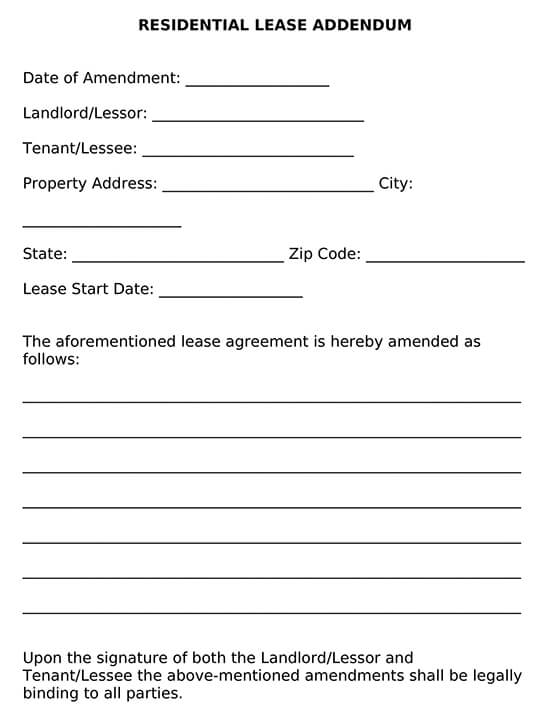 Residential Lease Addendum Template