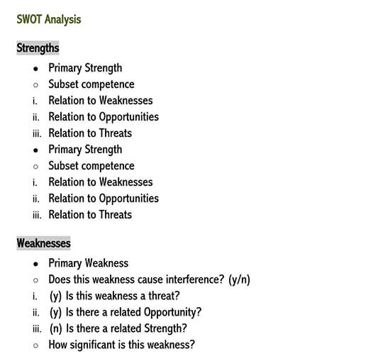 blank swot analysis template word