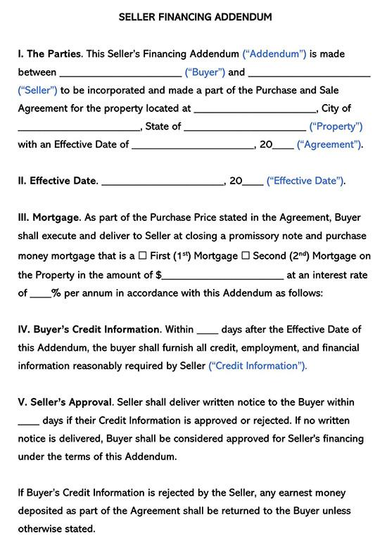 Seller Financing Addendum Agreement