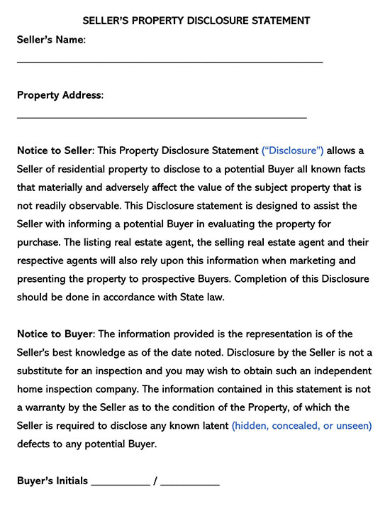 Sellers Property Disclosure Statement Template