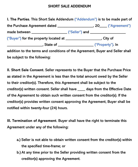 Short Sale Addendum to Purchase Agreement