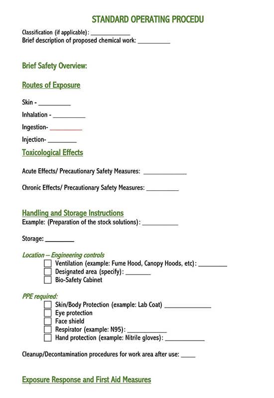 standard operating procedure manual template