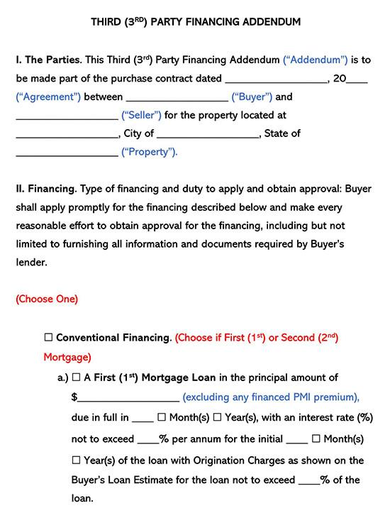 Third 3rd Party Financing Addendum Template