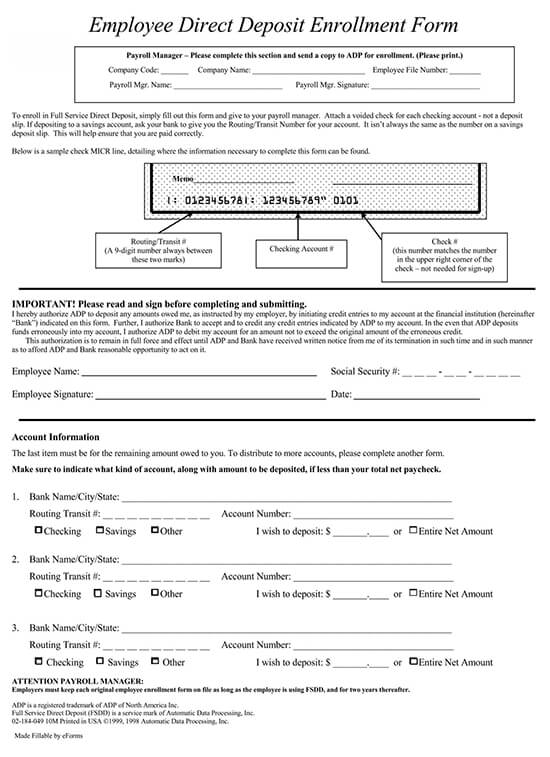 ADP Employee Direct Deposit Form