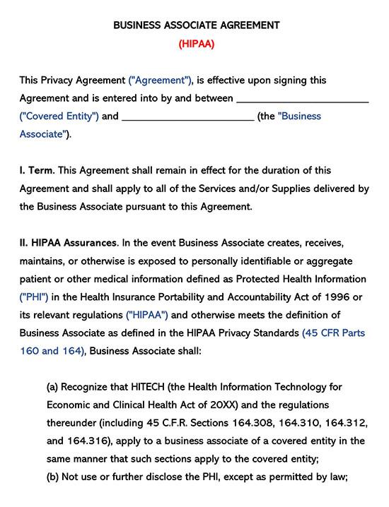 Business Associate Agreement HIPAA