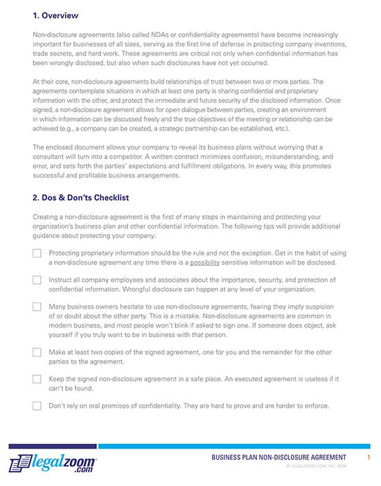 Business Plan Non-Disclosure Agreement Form