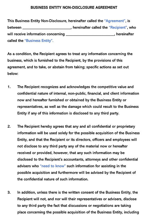 Business Sale Non-Disclosure Agreement Template