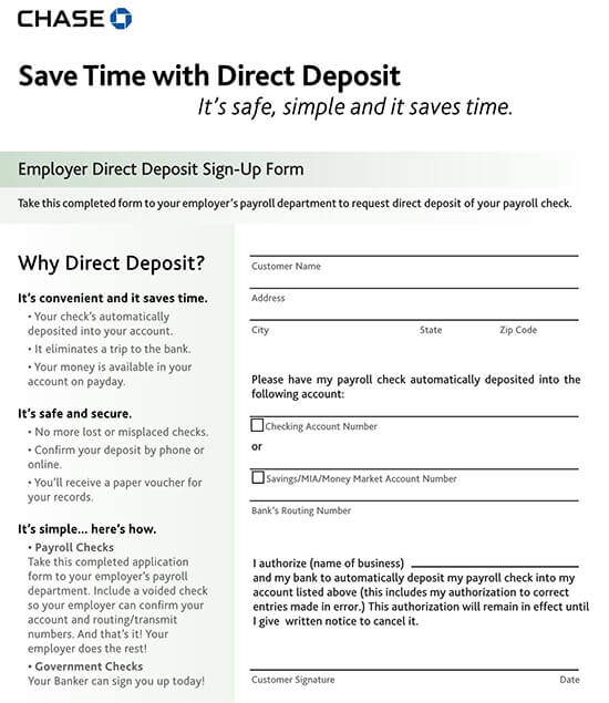 Chase Bank Direct Deposit Form