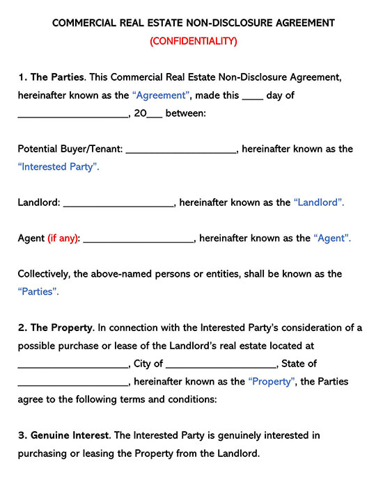 Commercial Real Estate Non-Disclosure Agreement NDA Template