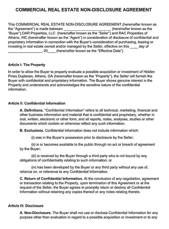 Commercial Real Estate Non-Disclosure Agreement PDF