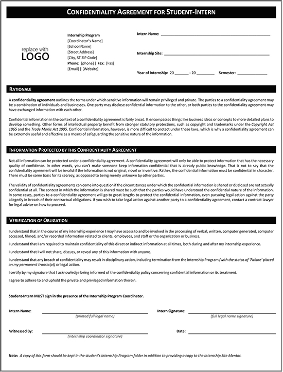 Confidentiality Agreement for Student Form