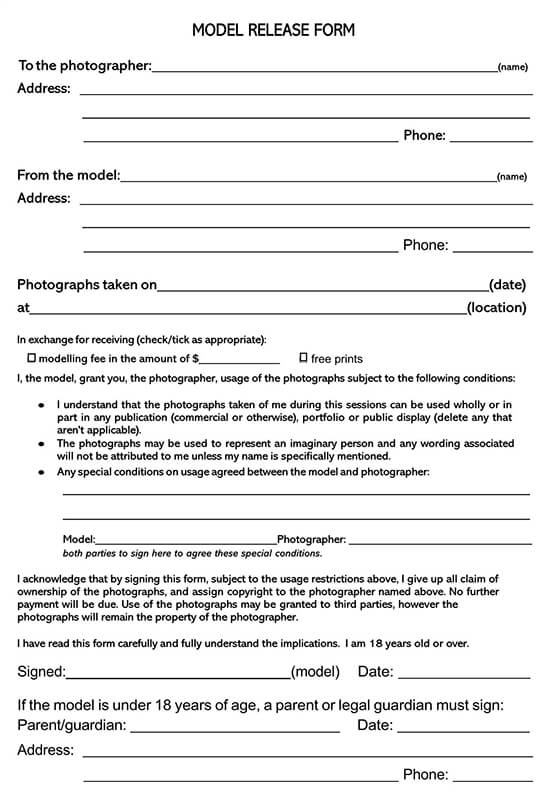 Copyright Model Photo Release Form