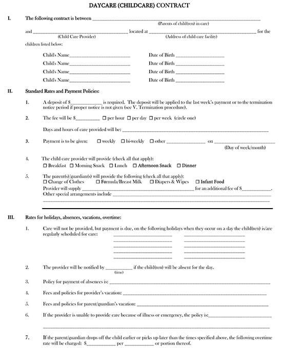 child care contract pdf
