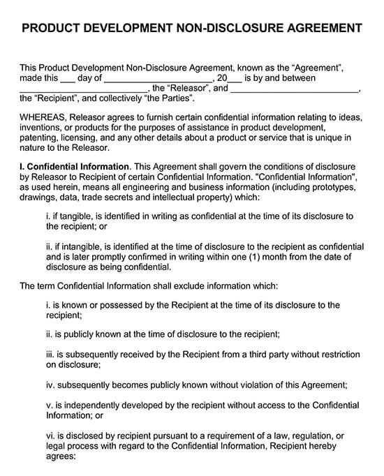 Development Non-Disclosure Agreement
