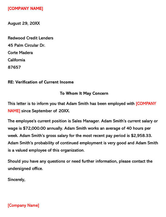 Employee Income Verification Letter 05