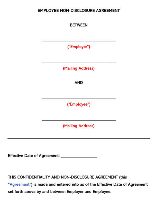Employee Non-Disclosure Agreement NDA Template