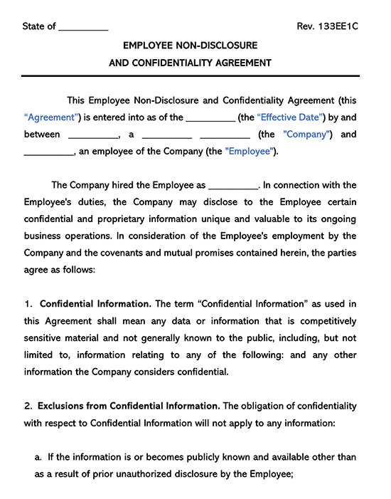 Employee Non-Disclosure and Confidentiality Form