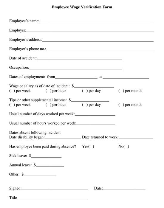 Employee Wage Verification Form