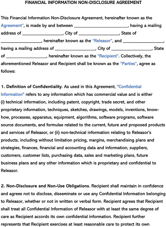 Financial Information Non-Disclosure Agreement NDA Template