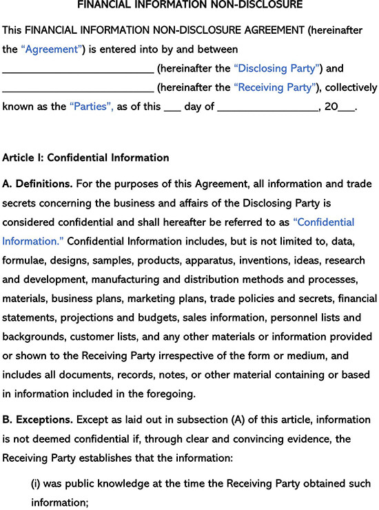 Financial Information Non Disclosure Template