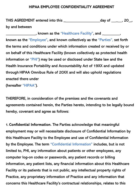 HIPAA Employee Confidentiality Non-Disclosure AgreementHIPAA Employee Confidentiality Non-Disclosure Agreement