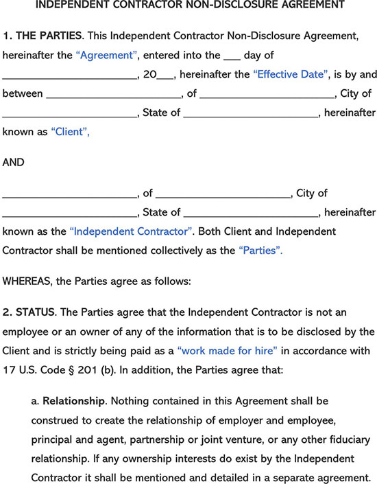 Independent Contractor Non-Disclosure Agreement NDA Template
