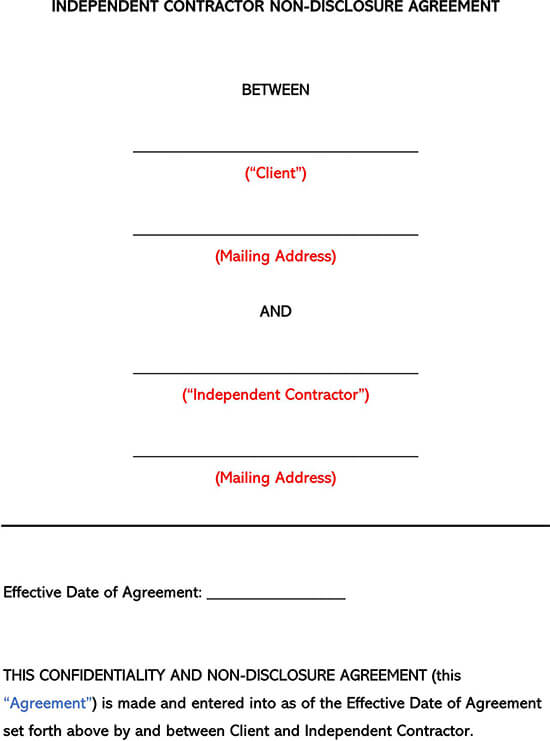 Independent Contractor Non-Disclosure Agreement Template