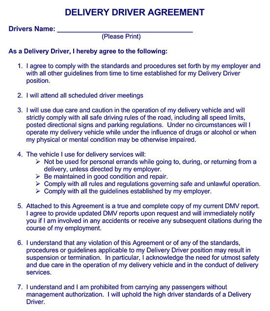 driver contract of employment sample