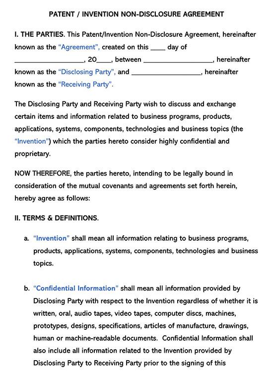 Invention Non-Disclosure Agreement NDA Template