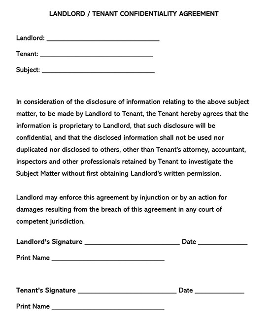 Landlord Tenant Confidentiality Agreement Form