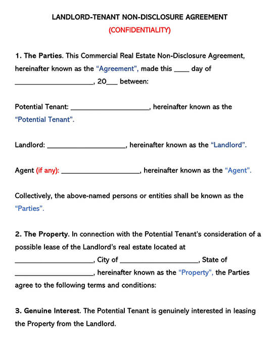 Landlord Tenant Non-Disclosure Agreement Example