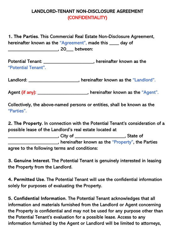 Landlord _Tenant Confidentiality Agreement Template