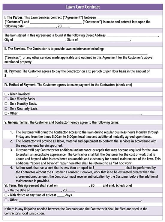 lawn care service agreement pdf