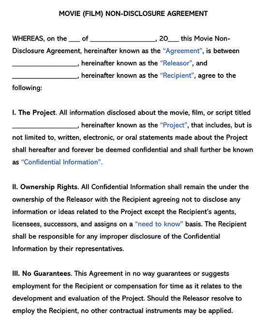 Movie Film Non-Disclosure Agreement Template