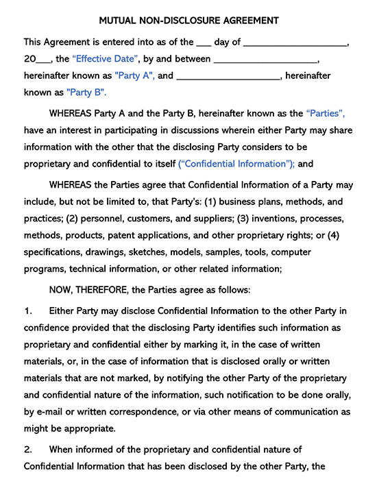 Mutual Non-Disclosure Agreement Template 02