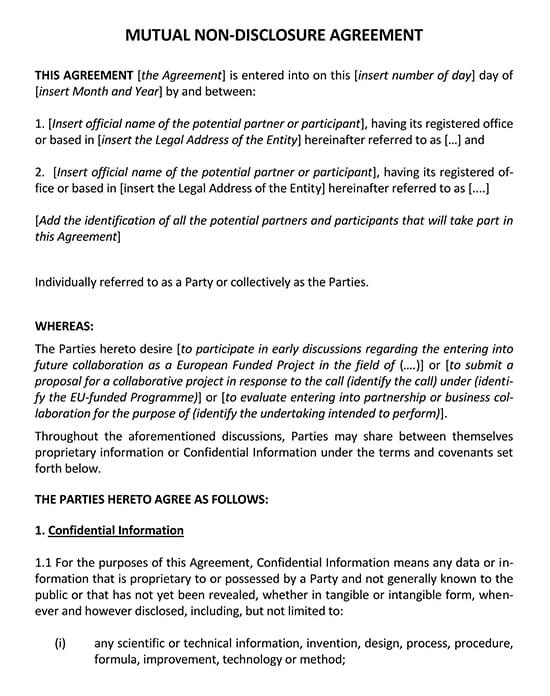 Mutual Non-Disclosure Agreement in English