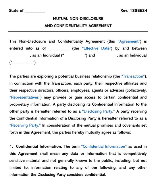 Mutual Non-Disclosure Form