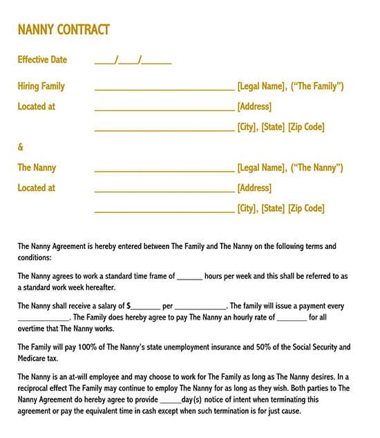 editable nanny contract