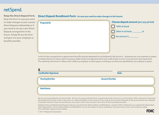 NetSpend Direct Deposit Authorization Form