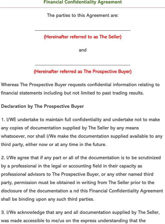Non-Disclosure Agreement for Financial Information