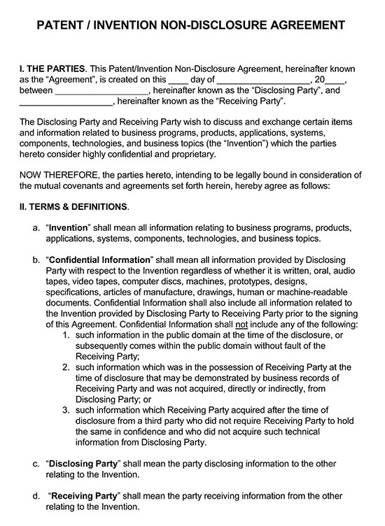 Patent Invention Non-Disclosure Agreement