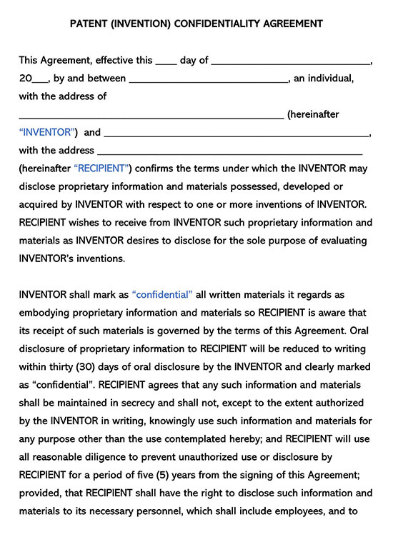 Patent Inventor Non Disclosure Agreement Template