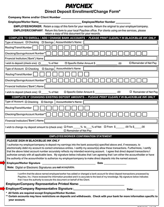 Paychex Direct Deposit Authorization Form