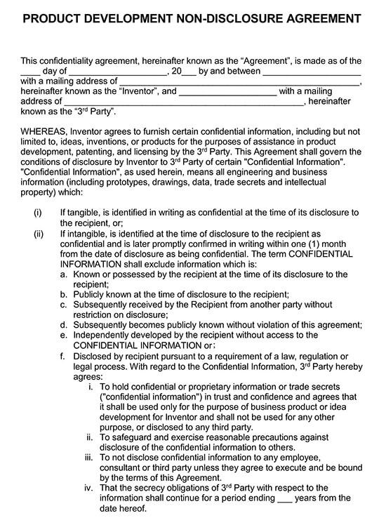Product Development Non-Disclosure Form