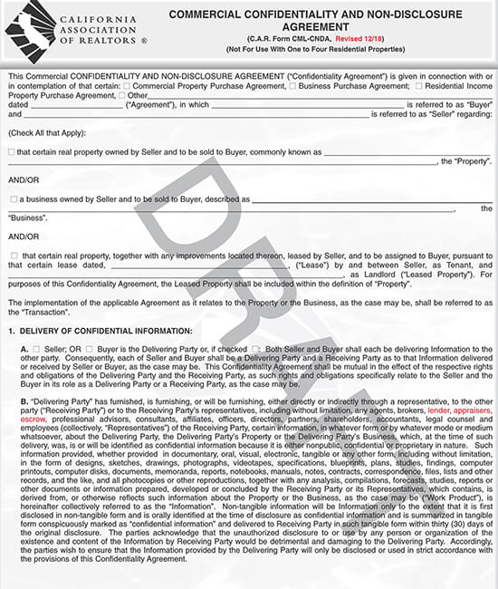 Real Estate Commercial Non-Disclosure Form